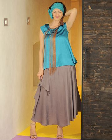 Lava Skirt | evening outfit | blue overlay | flowing skirt |