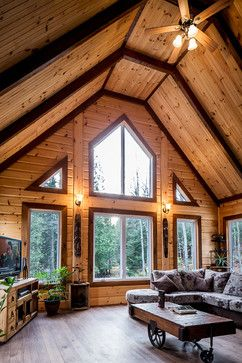 Log cabin interior design ideas pictures remodel and decor rustic cabins - Plafond cathedrale decoration ...