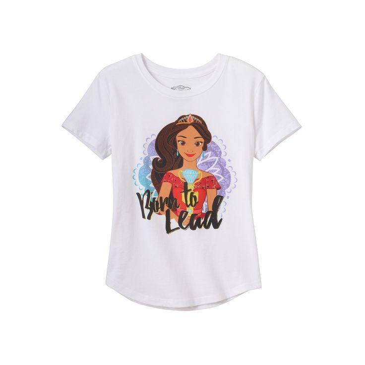 "Disney's Elena of Avalor Girls 7-16 ""Born to Lead"" Foil Graphic Tee, Girl's, Size: Medium, White"