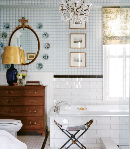 english country bathroom >> Would adjust a little, but I do love the tile and wallpaper!