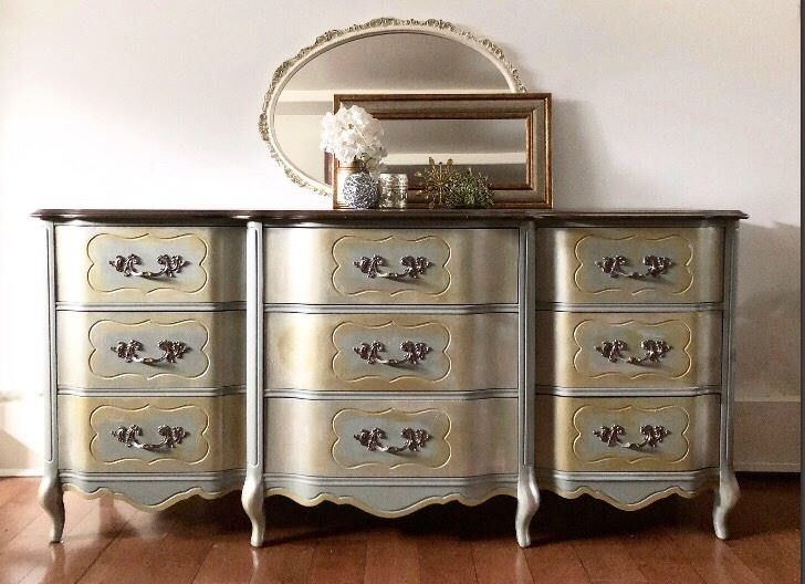 Excited to share the latest addition to my #etsy shop: French provincial 9 drawer solid wood dresser buffet sideboard dovetailed light sage champagne dull gold bronze stained top farmhouse