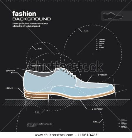 Man shoes vector. Fashion design background. Vector illustration.  Infographics,