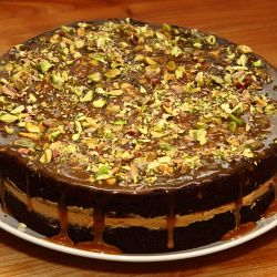 Chocolate cake with mocca cream and caramel topping