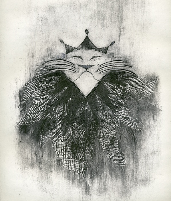 Artist: Steph Dabeedin. Title: Le Roi. Description: Collagraph
