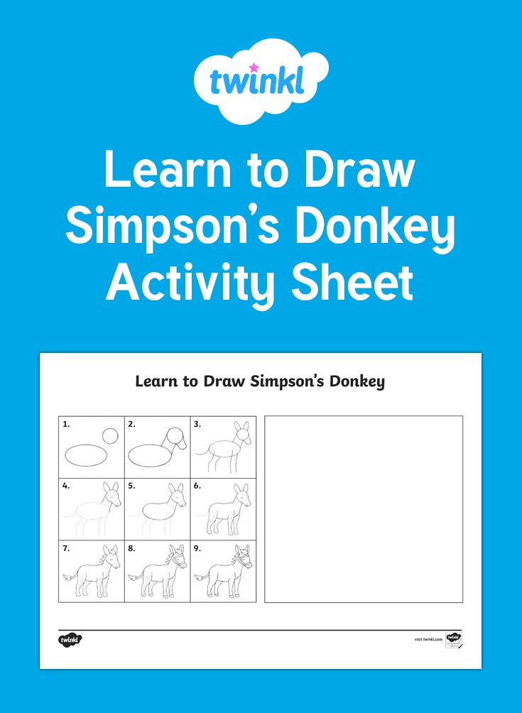 A handy pack to help your children learn to draw Simpson's donkey. Great for creative areas or homework.