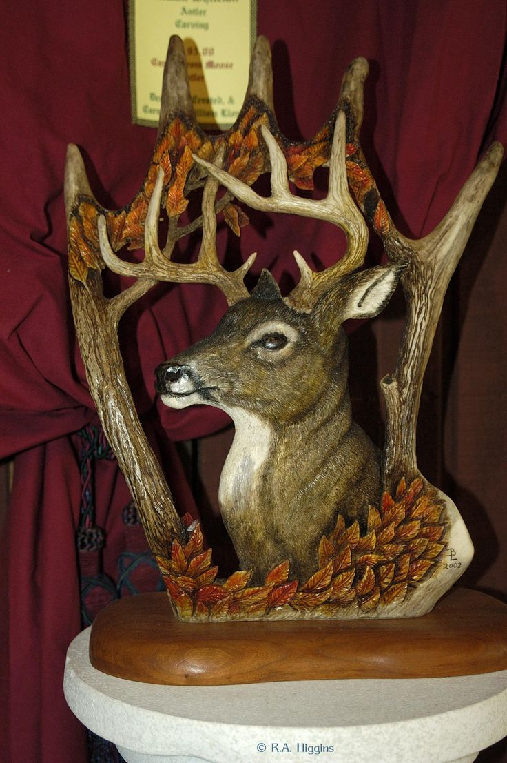 Moose Antler Carving,  This is done by William & Elizabeth Lloyd.