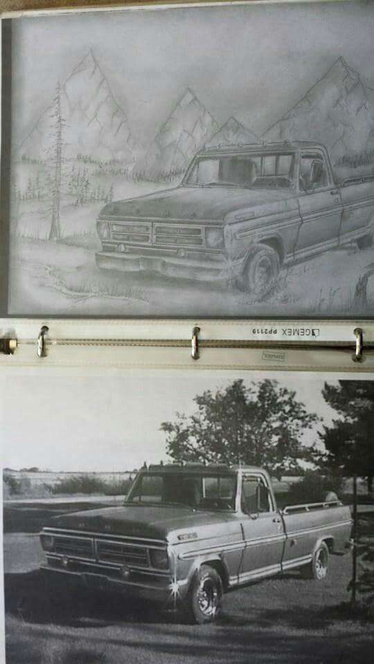 Truck pencil drawing freehand