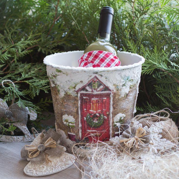 Christmas Bucket for Champagne/White Wine. Handmade Новогоднее ведро для льда под шампанское. Ручная работа