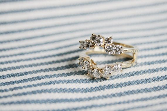 Diamond Cluster Ring Guard, Vintage Inspired Diamond Wedding Band, Ring Guard Wedding Band, CZ Cluster Ring Guard
