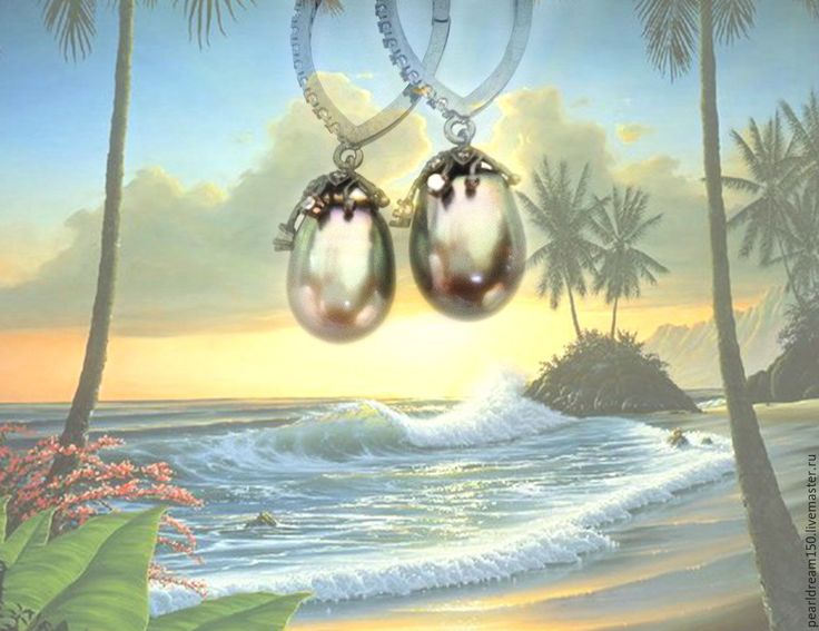 "Купить ""Таити"" серьги серебро морской жемчуг Таити - зеленый, морской жемчуг"