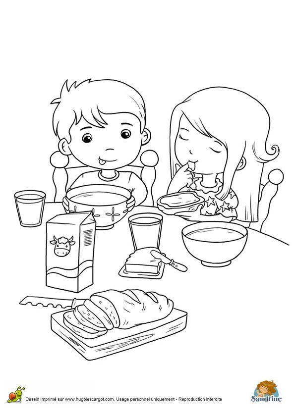 Deux jeunes enfants entrain de savourer leur petit d jeuner colorier coloriages de repas de - Dessin gouter ...
