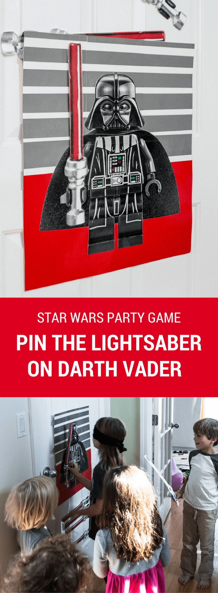 Make this easy and fun Star Wars DIY Birthday Party Game: Pin The Lightsaber On Darth Vader