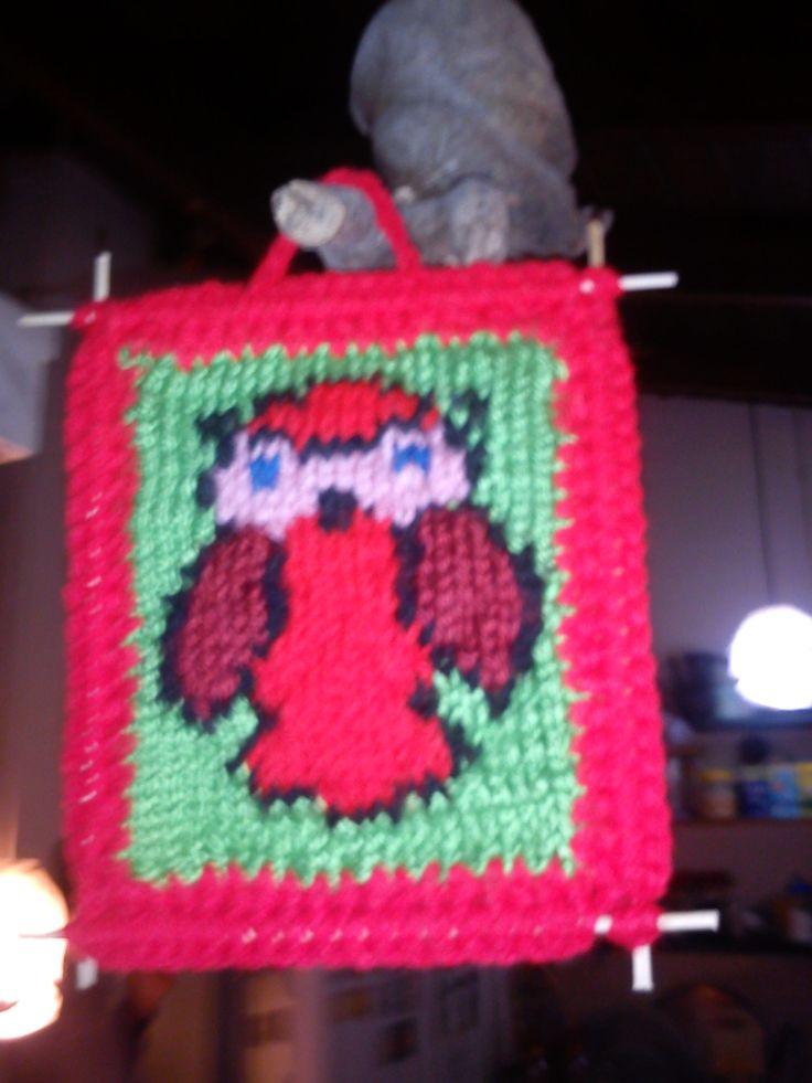 Tapiz búho, 2 agujas y crochet