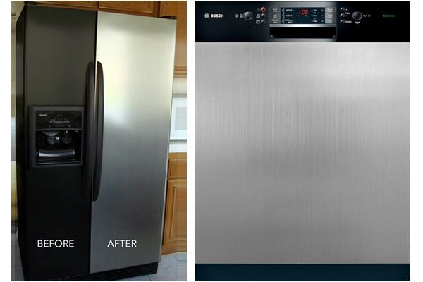 Decorating for Renters • Tips, Ideas and Tutorials! Including from 'appliance art', see how to update your appliance with magnetic or peel and stick stainless steel appliance covers.