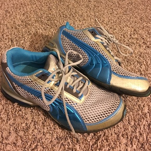 Blue Comfortable Puma Tennis Shoes Super cute and comply Puma tennis shoes! Only worn a few times, great condition! Women's size 9. Puma Shoes Sneakers