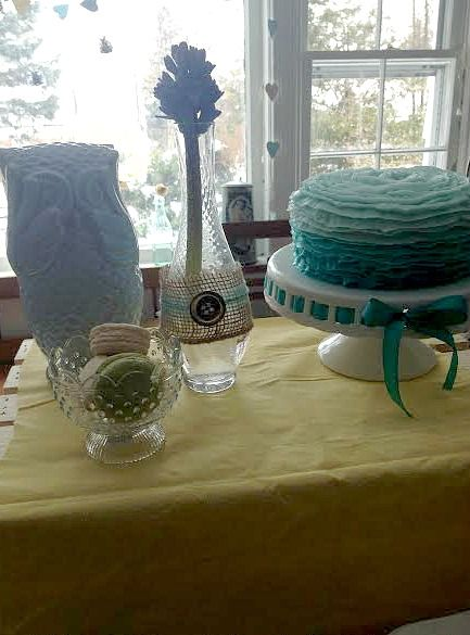 #ombre ruffle cakeShower Gende Reveal, Baby Shower