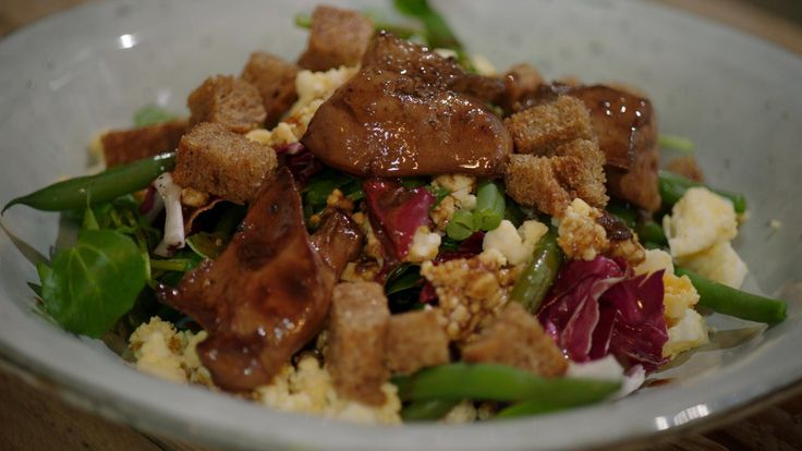 Salade van kippenlever, boontjes en jonge spinazie | Dagelijkse kost