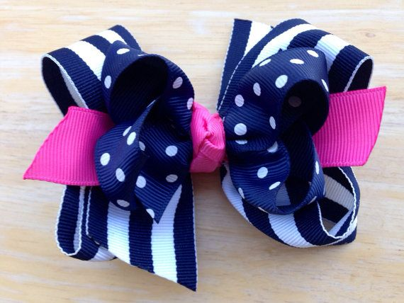 Navy, white & pink double boutique bow - navy boutique bow on Etsy, $6.50