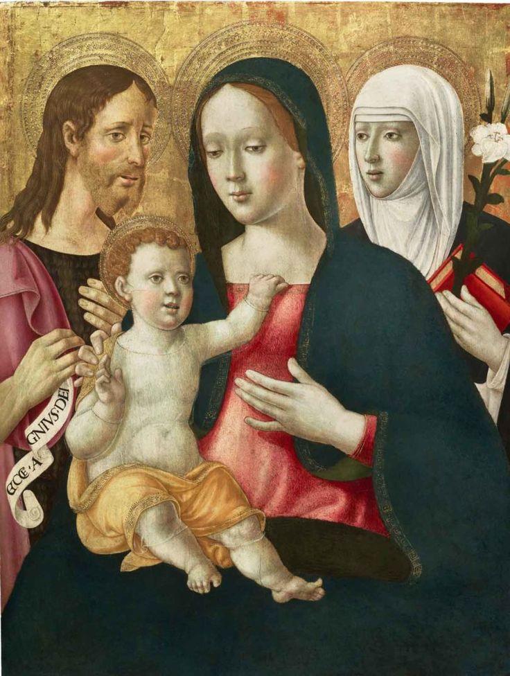 Girolamo di Benvenuto, Gottesmutter mit Jesuskind, Johannes dem Täufer und Katharina von Siena, um 1510