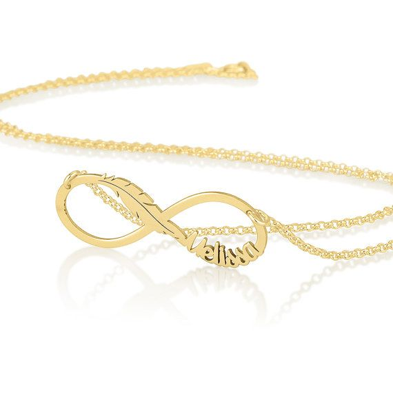 Feather and Infinity Necklace  Gold plated by BestMonogramNecklace