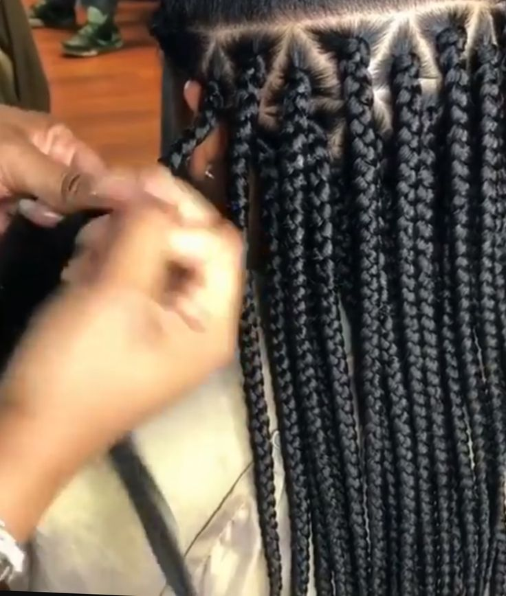 Box braids with triangle parts