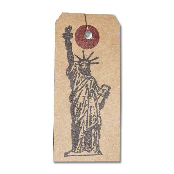 Tampon vintage statue de la liberté New York sur étiquette kraft