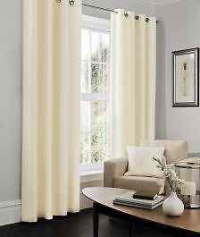 Faux Silk Cream Lined Eyelet Curtains – Linen and Bedding