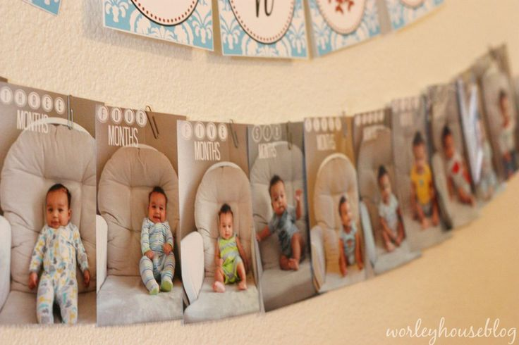First Year Photo Timeline - a must-have at baby's first birthday party!Birthday Parties, Birthday Photo Banner, Baby First Birthday, Birthday Party'S Ther, 1St Birthday, Boy/Girl Twin Birthday Themes, Birthday Timeline, First Birthday Boy Girl Twins, Birthday Ideas