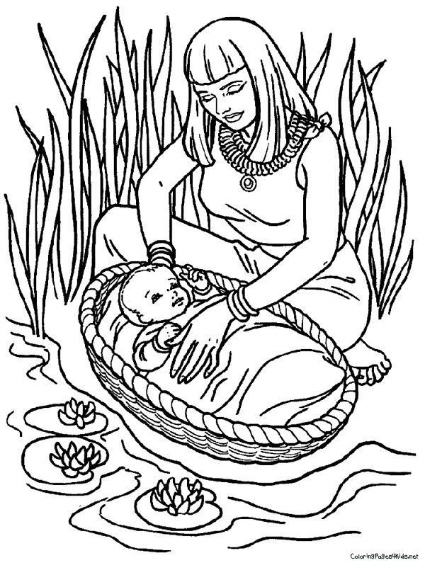 moses in bulrushes coloring pages - photo#29