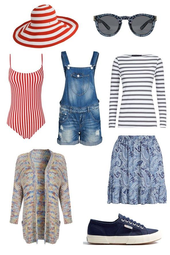 Staycation in Cornwall | Dungarees are surprisingly versatile in your holiday wardrobe - you can sling them over your cossie when it's hot, and layer up with a breton t-shirt and woolly cardi when it's not. And Hoss Intropia's adorable striped swimsuit is just perfect for when you finally decided to brave a dip in the sea.