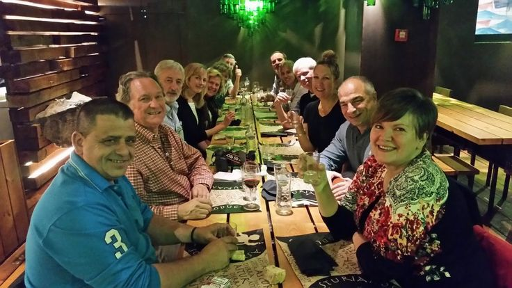 With our group on the Taste of Northern Spain Tour with Gerry Dawes and John Sconzo at Restaurante Tierra Astur on the Bulevar de la Sidra (Cider Boulevard), Oviedo, Asturias, Spain, October 2015.  Photo by Gerry Dawes.