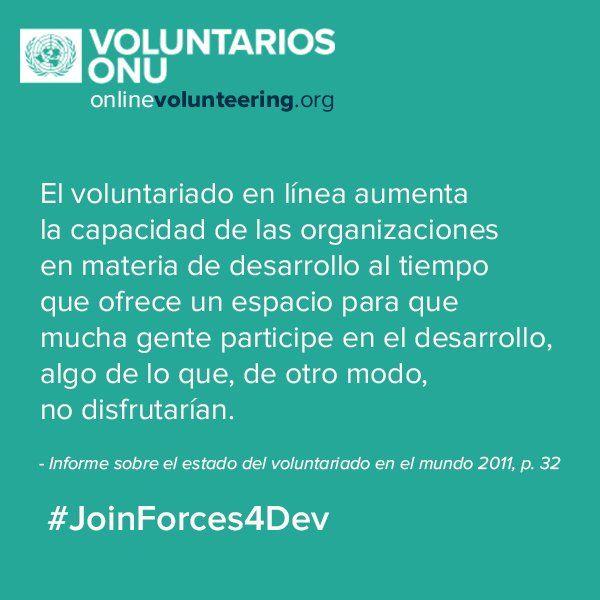 El Voluntariado en Línea de la ONU es gratuito. Conoce los beneficios para tu organización onlinevolunteering.org #JoinForces4Dev #Voluntariado