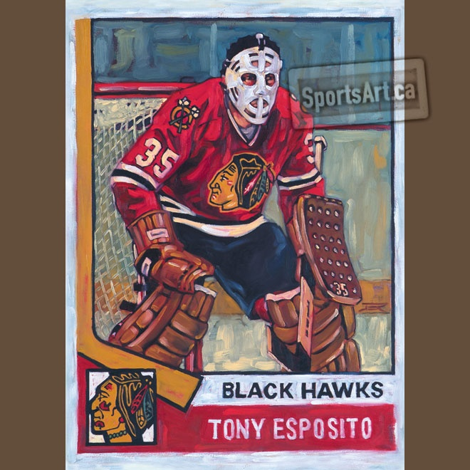Can you tell? I collected these beautiful hockey cards as a kid. So, I decided to paint them. This one is Chicago Blackhawks Tony Esposito.