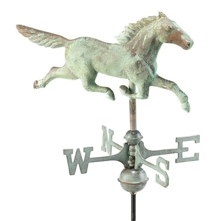 Weather vanes are the new black;  Stallion Cottage Weather vane in Blue Verde