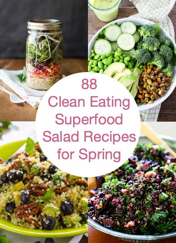 88 Superfood Salad Recipes is a collection of delicious healthy salads from all over the net with superfoods like kale, quinoa, fruit, cabbage, broccoli, beets, spinach and, beans to get you in shape for bikini season. | ifoodreal.com