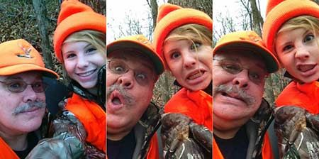 """Think Tank   From Call of Duty — To Sense of Duty   By Jeff """"Tank"""" Hoover   Teaching kids gun safety — while having some fun too — means mentoring and passing along what you know. It builds the future of what we all love, while creating a generation of safe, grounded young people. Here Tank and his daughter Samantha go afield together on a youth hunt a few years ago — but get in a bit of mugging to keep things even more fun.   © American Handgunner 2016"""