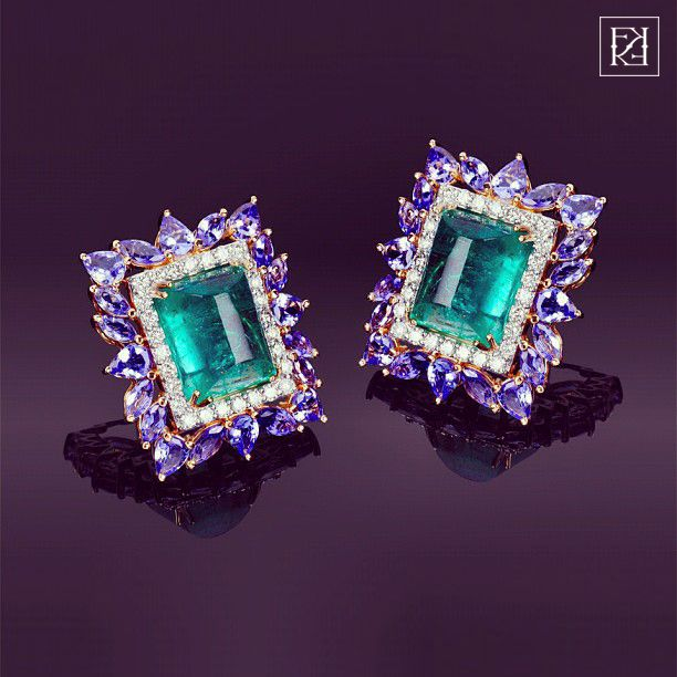 Farah Khan Emerald and Sapphires Earrings | Fashion Jewellery Antique | Rosamaria G Frangini