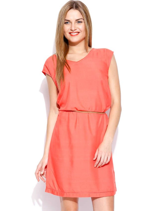 Tommy Hilfiger Coral Peach-Coloured Earlene Fit & Flare Dress