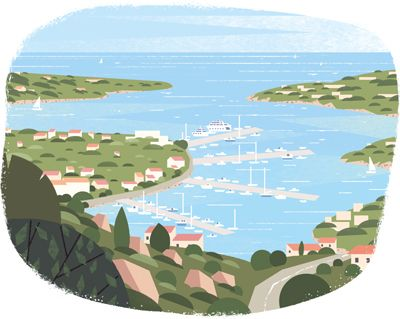 A serie of 7 illustrations I made to depict notable places in Sardinia for Le Parisien Magazine.