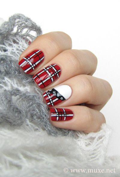 Red plaid skirt! From Mari's Nail Polish Blog.