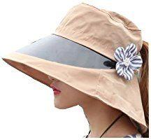 (ダブルビーインポート)W.B.Importレディース 帽子 キャップ つば広 サンバイザー 花 モチーフ付 日除け 日差し UVケア
