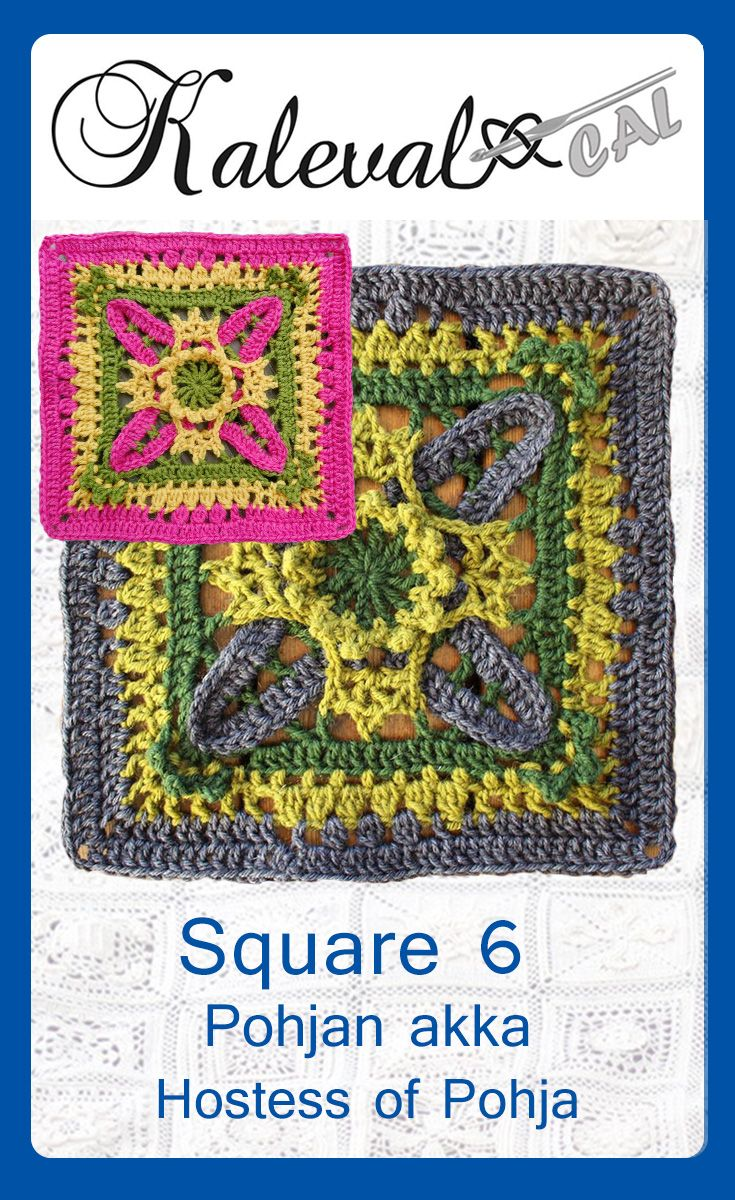 Kalevala CAL square 6. Design Maarit Leinonen Beautiful crochet square, join in the crochet-along. #crochetsquare