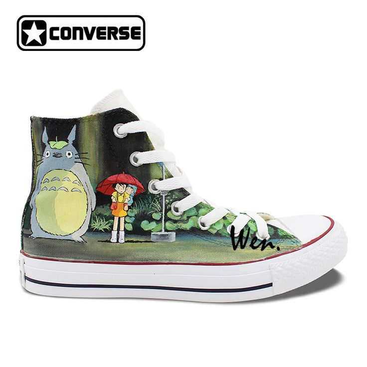 Unisex Converse Shoes Neighbor Totoro Hand Painted Canvas Shoes Custom Design High Top Converse All Star. Click visit to buy #Skateboarding #Shoes
