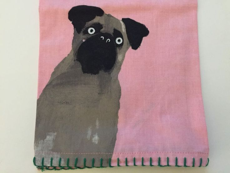 Anthropologie Farm Dog Cat Pink Dishtowel Holly Frean New Farmhouse Kitchen  #Anthropologie