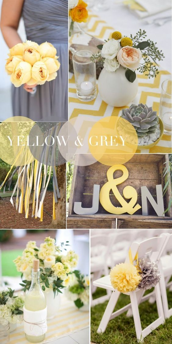 70 best yellow grey white weddings images on pinterest for Table linen color combinations