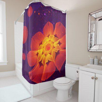 Royal Blue Red and Yellow Fractal Gerbera Daisy Shower Curtain - home decor design art diy cyo custom