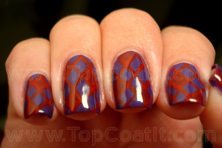 Fishnet-ish with purple and red. | from Top Coat It!