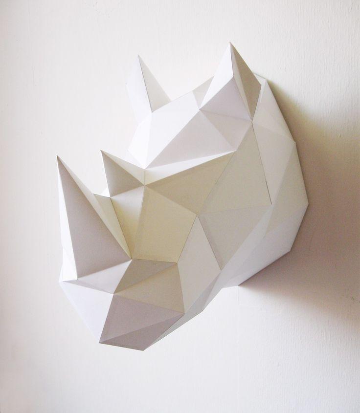 Trophée origami en papier Rhinocéros - Blanc