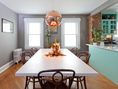 Open Space Dining Room And Kitchen With Copper Pendant Light And Colorful  Cabinets. Http: