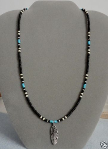 Black-Blue-Turquoise-Silver-Feather-Beaded-Necklace-Native-American-Free-Ship